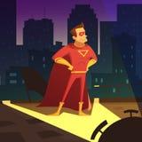 Superman In Night City Illustration. Superman in night city cartoon background with blocks of flats vector illustration Stock Photos