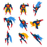 Superman Poses Set Vector Illustration Royalty Free Stock Images