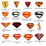 Superman S insignia symbol Vector Logo Collection. Selection of Superman `S` Insignia Logos from Comic books, movies and television. Scalable eps vector file stock illustration