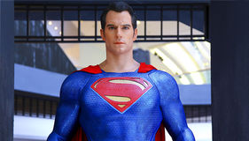 Superman statue. Life size statue of fictional character superman at batman v superman : dawn of justice promotion booth organized by hot toys at festival walk royalty free stock photography