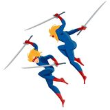 Superman with swords Royalty Free Stock Photography