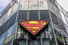Superman symbol on a building. New York, August 2, 2016: A large Superman symbol mounted to a building where Midtown Comics store is located royalty free stock photo