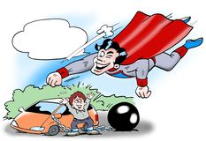 Superman to the rescue the driver Royalty Free Stock Photography