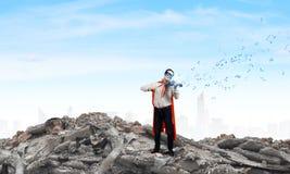 Superman with violin Stock Photos