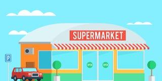Supermarché extérieur avec une voiture Images libres de droits