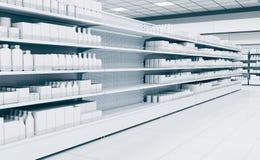 Supermarché vide intérieur avec le congélateur d'étalages image libre de droits