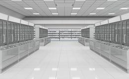 Supermarché vide intérieur avec le congélateur d'étalages photos libres de droits