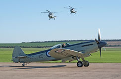 Supermarine Seafire with two Lynx helicopters Stock Image