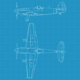Supermarine Spiteful. High detailed vector illustration of old military airplane - top and side view Stock Photos
