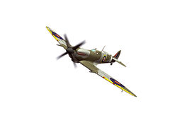 Supermarine Spitfire isolated on white background. Render of a ww2 Supermarine Spitfire 3D model in flight Royalty Free Stock Photo