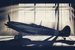 Supermarine Spitfire Mk.V - modelled in 3D. Render of a ww2 Supermarine Spitfire 3D model placed in hangar Royalty Free Stock Photography