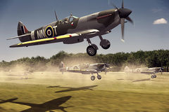 Supermarine Spitfire. Render of a ww2 Supermarine Spitfire 3D model in flight Royalty Free Stock Image