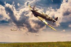 Supermarine Spitfire. Render of a ww2 Supermarine Spitfire 3D model in flight Royalty Free Stock Images