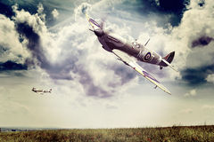 Supermarine Spitfire. Render of a ww2 Supermarine Spitfire 3D model in flight Royalty Free Stock Photos