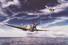 Supermarine Spitfire. Render of a ww2 Supermarine Spitfire 3D model in flight Stock Photo