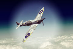 Supermarine Spitfire. Render of a ww2 Supermarine Spitfire 3D model in flight Stock Photography