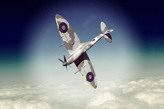 Supermarine Spitfire. Render of a ww2 Supermarine Spitfire 3D model in flight Stock Photos