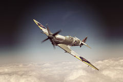 Supermarine Spitfire. Render of a ww2 Supermarine Spitfire 3D model in flight Royalty Free Stock Photo