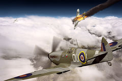 Supermarine Spitfire victorious during WW2. Render of a ww2 Supermarine Spitfire 3D model in flight after a victory over German plane on fire Stock Photography