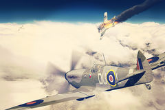 Supermarine Spitfire victorious during WW2. Render of a ww2 Supermarine Spitfire 3D model in flight after a victory over German plane on fire Royalty Free Stock Images