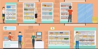Supermarketów idoors wewnętrzni ilustracji