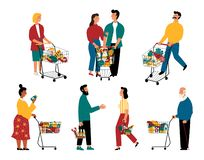 Supermarketów klienci, postacie z kreskówki Mężczyźni i kobiety z wózkami na zakupy przy sklepem spożywczym Wektorowa p?aska ilus royalty ilustracja