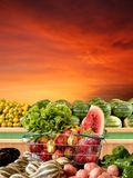 Supermarket. Basket of supermarket with fruit and vegetables Stock Photos