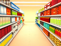 Supermarket. With goods . 3d rendered image Stock Photography