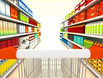 Supermarket. With goods . 3d rendered image Royalty Free Stock Photo