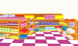 Supermarket. Container filled with supermarket goods Stock Images