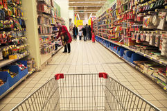Supermarket. Istanbul Maltepe Carrefour has opened a new branch. Section stationery Stock Image