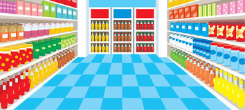 Supermarket. Vector, color full, no gradient Stock Photos