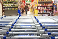 Supermarket. Many carts in a big supermarket Royalty Free Stock Photo
