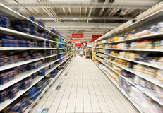 Supermarket. A big supermarket  - interior blurred Royalty Free Stock Photo