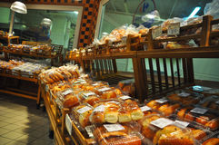 Supermarket. Istanbul Maltepe Carrefour has opened a new branch. Bread section Stock Image