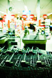 Supermarket. Row of shopping carts in supermarket royalty free stock photos