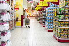 Supermarket Aisle Royalty Free Stock Photography
