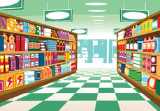 Supermarket aisle. An illustration of a generic supermarket aisle with shelving full of food items and packages. E.P.S. 10 vector file included with image, on stock illustration