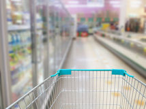 Supermarket Aisle Milk Yogurt Frozen Food Freezer and Shelves Stock Images