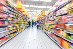 Supermarket aisle,motion blur Royalty Free Stock Images