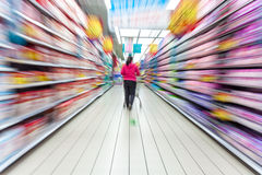 Supermarket aisle,motion blur Royalty Free Stock Photos