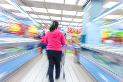 Supermarket aisle,motion blur Royalty Free Stock Image