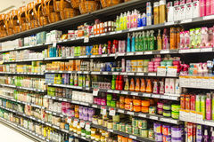 Supermarket Aisle. Shelves of beauty product department royalty free stock photos