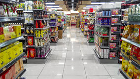 Supermarket Aisle Royalty Free Stock Images