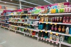 Supermarket aisle Royalty Free Stock Images