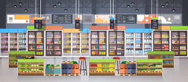 Supermarket Aisle With Shelves, Grocery Items, Shopping, Retail And Consumerism Concept. Flat Vector Illustration Royalty Free Stock Photos
