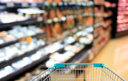 Supermarket Aisle and Shelves Royalty Free Stock Photos
