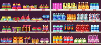 Supermarket aisle shelves with toys and chemicals. Mall shelves with kids toys and domestic chemical products. Supermarket showcase with teddy bear, cars, cubes Stock Photo
