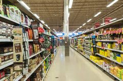 Supermarket aisle Royalty Free Stock Image