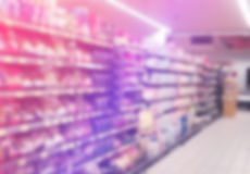 Supermarket Aisles out of Focus Stock Photos
